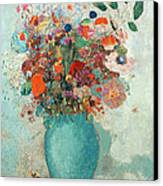 Flowers In A Turquoise Vase Canvas Print