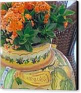 Flowers In Ornate Vase Canvas Print