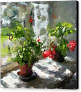 Flowers On The Window Canvas Print by Yury Malkov