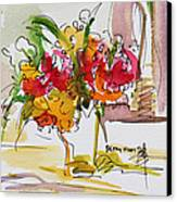 Flowers Red And Yellow Canvas Print by Becky Kim