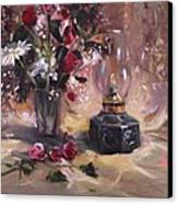 Flowers With Lantern Canvas Print