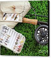 Fly Fishing Rod And Asessories Canvas Print by Sandra Cunningham
