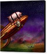 Flying Pig - Rocket - To The Moon Or Bust Canvas Print by Mike Savad