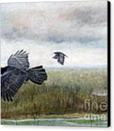 Flying To The Roost Canvas Print by Barb Kirpluk