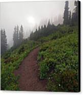 Foggy Crest Trail Canvas Print by Mike  Dawson