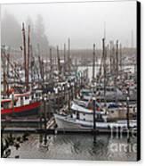 Foggy Ilwaco Port Canvas Print by Robert Bales