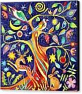 Folk Tree Canvas Print by Jane Tomlinson