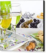 Food And Wine On A Buffet Table Canvas Print by Colin and Linda McKie