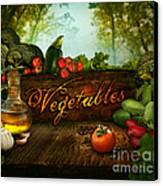 Food Design - Fresh Vegetables In Celery Forest Canvas Print by Mythja  Photography