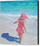 Footprints In The Sand Canvas Print by Holly Kallie