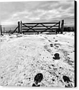 Footprints In The Snow Canvas Print by John Farnan