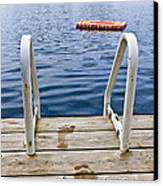 Footprints On Dock At Summer Lake Canvas Print
