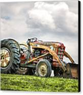 Ford Powermaster Tractor On A Hill Canvas Print by Gary Heller