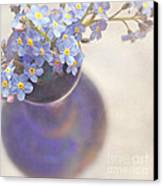 Forget Me Nots In Blue Vase Canvas Print by Lyn Randle