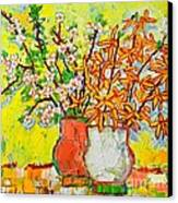 Forsythia And Cherry Blossoms Spring Flowers Canvas Print
