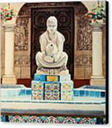 Fountain At Cafe Del Rey Moro Canvas Print by Mary Helmreich