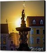Fountain In Sunset Canvas Print by Filip Masopust