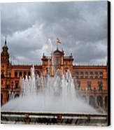 Fountain On Plaza De Espana. Seville Canvas Print by Jenny Rainbow
