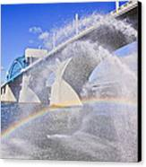 Fountains And The Market Street Bridge Canvas Print by Tom and Pat Cory
