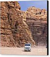 Four Wheel Drive Vehicles At Wadi Rum Jordan Canvas Print