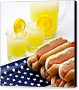 Fourth Of July Hot Dogs And Lemonade Canvas Print by Amy Cicconi