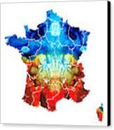 France - European Map By Sharon Cummings Canvas Print