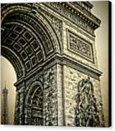 French - Arc De Triomphe And Eiffel Tower Canvas Print by Lee Dos Santos