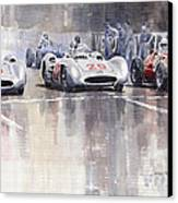 French Gp 1954 Mb W 196 Meserati 250 F Canvas Print by Yuriy  Shevchuk