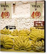 Fresh Bananas On A Street Fair In Brazil Canvas Print by Ricardo Lisboa
