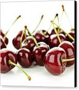 Fresh Cherries On White Canvas Print by Elena Elisseeva