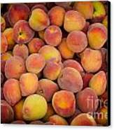 Fresh Peaches On A Street Fair In Brazil Canvas Print by Ricardo Lisboa