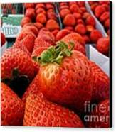 Fresh Strawberries Canvas Print by Peggy Hughes