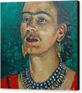 Frida Teal Canvas Print by Lilibeth Andre