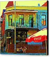 Friends On The Bench At Cartel Street Food Mexican Restaurant Rue Clark Art Of Montreal City Scene Canvas Print