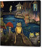 Frogland Canvas Print by Leah Saulnier The Painting Maniac