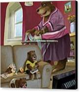 Front Room Bear Family Son Playing Computer Game Canvas Print
