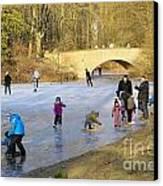 Frozen Lake Krefeld Germany Canvas Print by David Davies