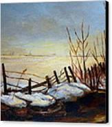 Frozen Lake Near Ste. Adele Canvas Print
