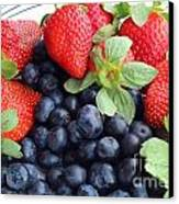 Fruit 2- Strawberries - Blueberries Canvas Print by Barbara Griffin