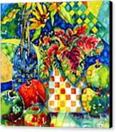 Fruit And Coleus Canvas Print by Ann  Nicholson