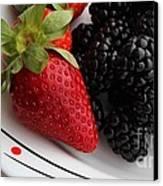 Fruit II - Strawberries - Blackberries Canvas Print by Barbara Griffin