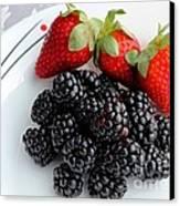 Fruit Iv - Strawberries - Blackberries Canvas Print by Barbara Griffin