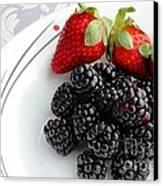 Fruit V - Strawberries - Blackberries Canvas Print by Barbara Griffin