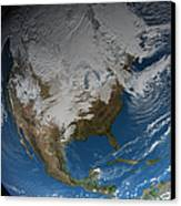 Ful Earth Showing Simulated Clouds Canvas Print by Stocktrek Images