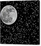 Full Moon And Stars Canvas Print by Frank Feliciano