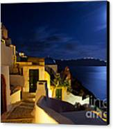 Full Moon At Santorini Canvas Print by Aiolos Greek Collections