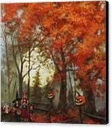 Full Moon On Halloween Lane Canvas Print by Tom Shropshire