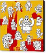Funny Doodle Characters Urban Art Canvas Print