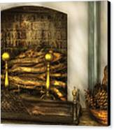 Furniture - Fireplace - A Simple Fireplace Canvas Print by Mike Savad