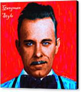 Gangman Style - John Dillinger 13225 - Red - Painterly - With Text Canvas Print by Wingsdomain Art and Photography